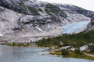 Blue Glacier and Lake in Norway