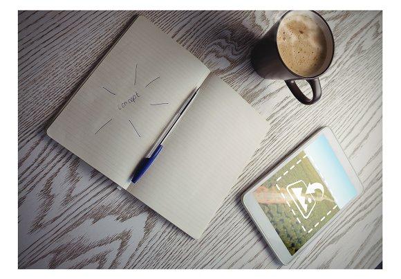 Tablet On Table Creative Mockup