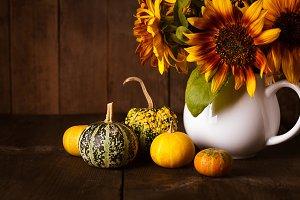 Still life with pumpkins