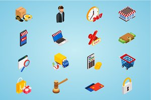 Electronic commerce isometric icons