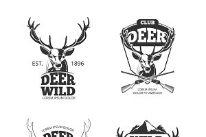 Deer head retro badges