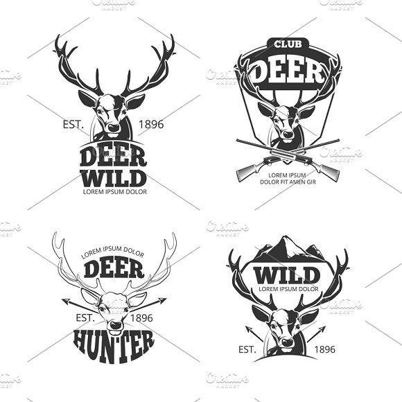 Deer Head Retro Badges