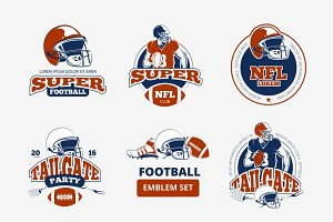 American football vector emblems set