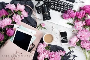Pink Peonies Flatlay with Camera