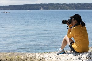 Women Photographer on Lake