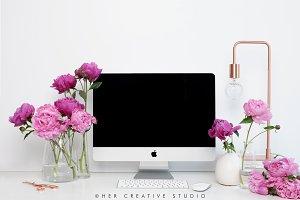 Pink Peonies Desktop Mockup