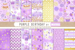 PURPLE BIRTHDAY digital papers