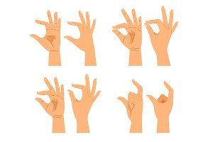 Hand size signs or thickness gestures