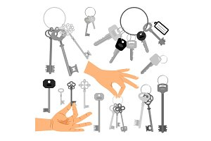 Keys with hands isolated icons set