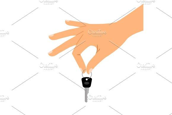 Hand Holding Key Isolated Icon
