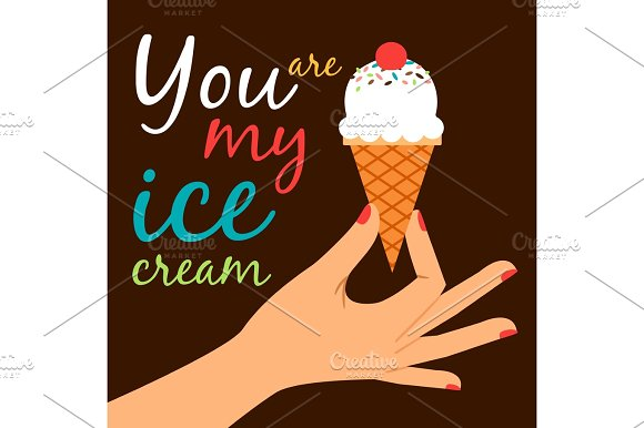 Icecream In Hand Love Poster Concept