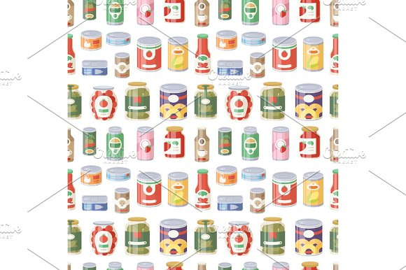 Collection Of Various Tins Canned Goods Food Metal Container Product Seamless Pattern Vector Illustration