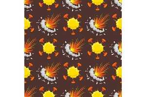 Cartoon explosion boom effect seamless pattern animation game sprite sheet explode burst blast fire comic flame vector illustration.