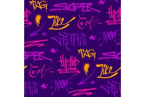 Graffiti street art wall grunge color font vector seamless pattern background
