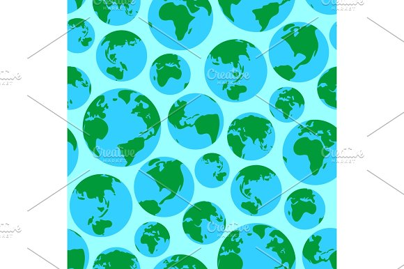 Globe Earth Green Planet World Surface Seamless Pattern Vector Illustration Background