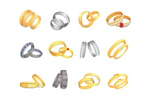 Wedding rings set of gold and silver metal romantic nuptial hoop couple love golden jewelry isolated vector illustration.