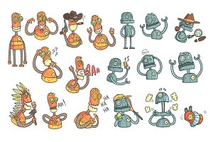 Orange Robot Set Of Cartoon Outlines Portraits