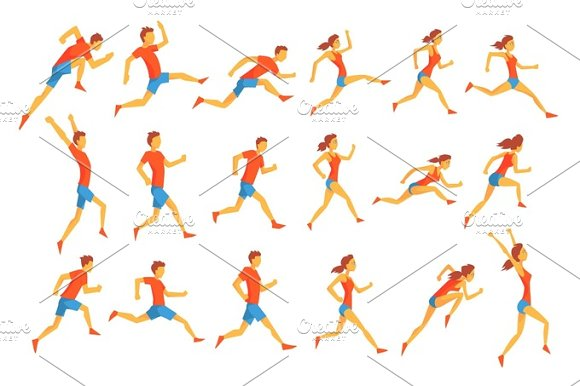 Male Sportsman Running The Track With Obstacles And Hurdles In Red Top Blue Short In Racing Competition Set Of Illustrations