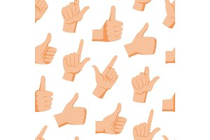 Seamless pattern with various hands gestures dumb background mute inarticulate unlanguaged vector illustration.