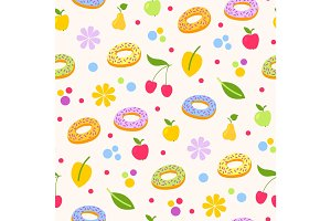 Donuts tasty coockie seeamless pattern vector background