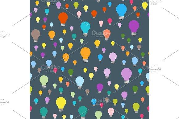 Cartoon Lamps Light Bulb Seamless Pattern Background Design Vector Illustration Brainstorm Solution Energy