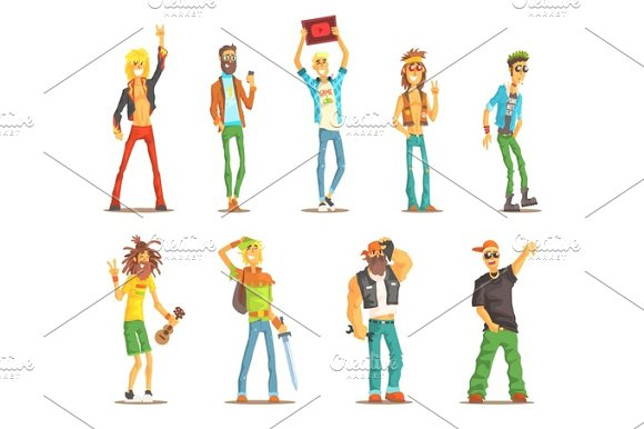 People Belonging To Different Subculture Set Of Recognizable Cartoon Characters With Cultural Group Attributes