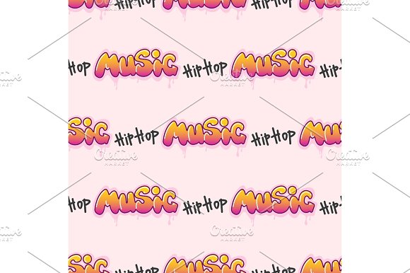 Graffiti Vector Hip-hop Music Text Art Urban Design Seamless Pattern Street Style Abstract Symbol Graphic Illustration