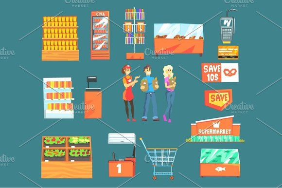 People Shopping For Groceries In Supermarket Surrounded By Shop Attributes Set Of Illustrations