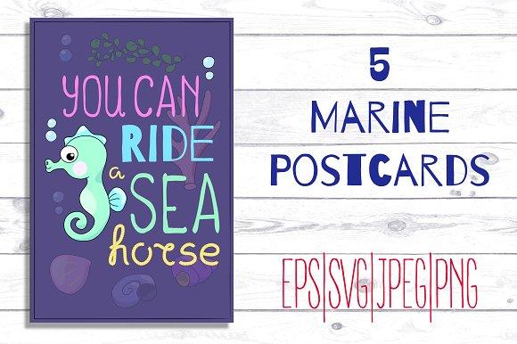 Cute Sea Animals Marine Postcards