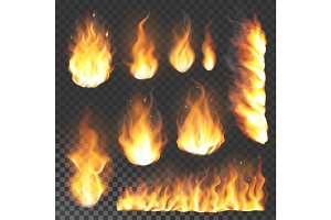 Realistic 3d fire flame flare blaze burning vector illustration on transparent background