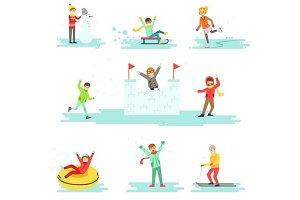 People Having Fun In Snow In Winter Set Of Illustrations