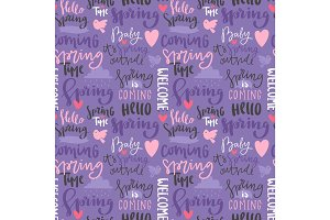 Spring time lettering text greeting card typography hand drawn graphic vector illustration seamless pattern background