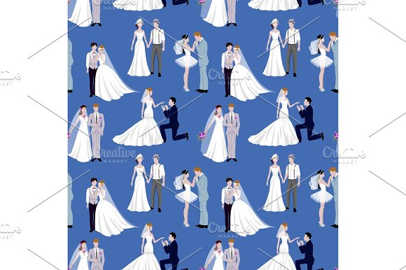 Wedding Ceremony Groom And Bride Couple People Silhouette Vector Seamless Pattern Background