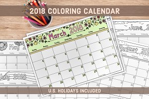 2018 Coloring Calendar