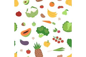Vegetables and fruits flat seamless pattern healthy vegetarian food vegan fresh organic vector illustration