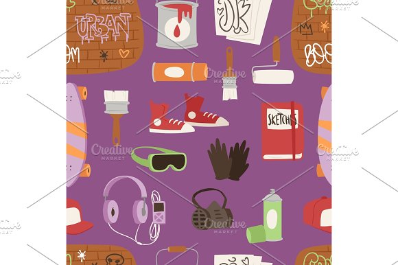 Graffiti yarnbombing hipster artist accessories grunge spray paint artistic street art symbols vector illustration seamless pattern background