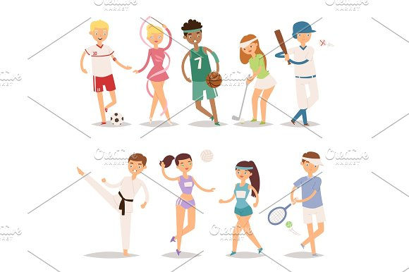 Health Sport And Wellness Flat People Characters Sporting Man Activity Woman Athletic Vector Illustration
