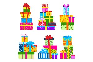 Gift box packs composition event greeting object birthday isolated vector illustration.