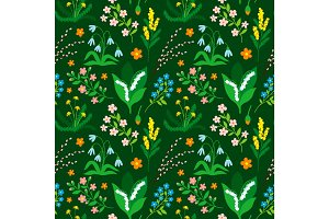 Nature spring and summer flower illustration seamless pattern background floral vector