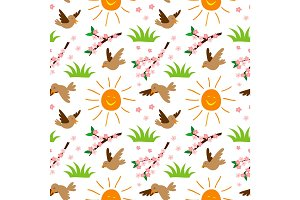 Nature summer sun and bird illustration seamless pattern background floral vector