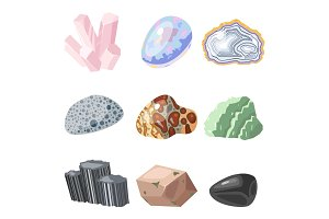 Semi precious gemstones stones and mineral stone isolated dice colorful shiny crystalline vector illustration