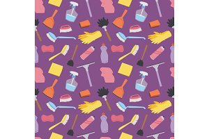 House cleaning service domestic tools houseowner seamless pattern background