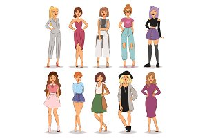Street fashion woman models hand drawn style fashionable stylish girl characters clothes looks vector illustration