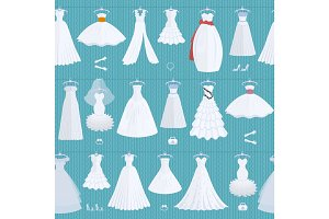 Wedding ceremony bride white dress model elegance celebration vector illustration seamless pattern background