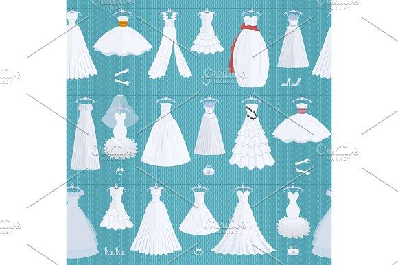 Wedding Ceremony Bride White Dress Model Elegance Celebration Vector Illustration Seamless Pattern Background