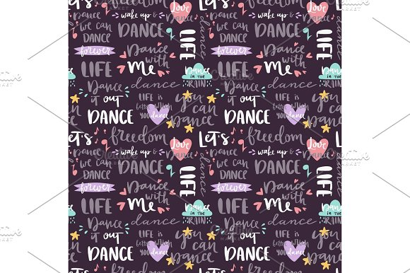 Handdrawn Lettering Love Dance And Music Quote Phrase Calligraphy Music Seamless Pattern Background