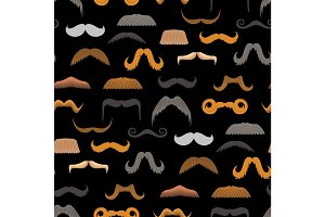Vector mustache beard face haircut silhouette isolated seamless pattern vector background