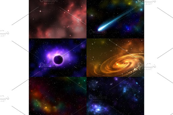 Starry Outer Galaxy Cosmic Space Illustration Universe Background Sky Astronomy Nebula Cosmos Night Constellation Vector Realistic Astrology
