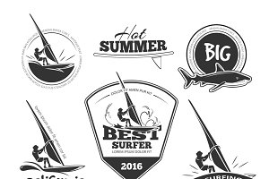 Retro surf emblems and labels set