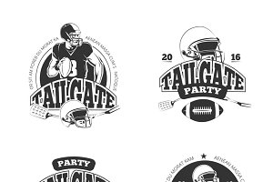 American football party labels set